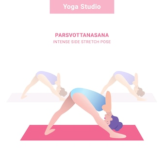 Parsvottanasana, pose de estiramento lateral intensa. estúdio de ioga