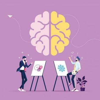 Parte criativa e parte lógica com atividades sociais e de negócios