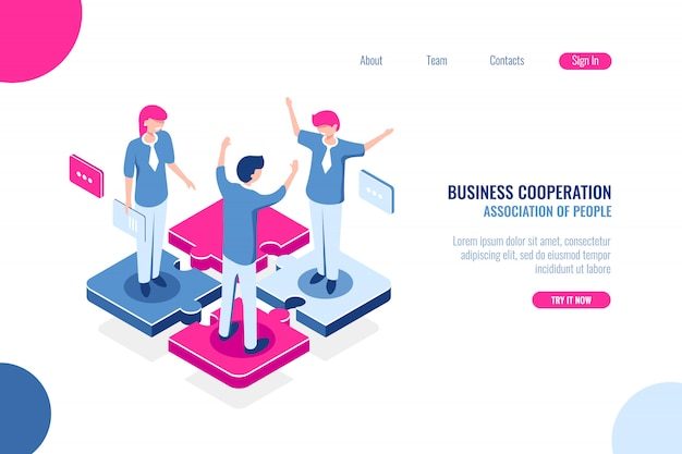 Parte da equipe, conceito de quebra-cabeça de negócios, tomada de decisão conjunta, marketing de trabalho em equipe