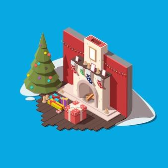 Parte da sala com lareira, árvore de natal e caixas de presente