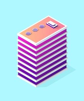 Parte isométrica do distrito do bloco do módulo 3d