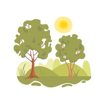 Parte pacífica do fundo do conceito de árvore da floresta. ilustração dos desenhos animados da parte pacífica da árvore da floresta conceito de fundo para web design