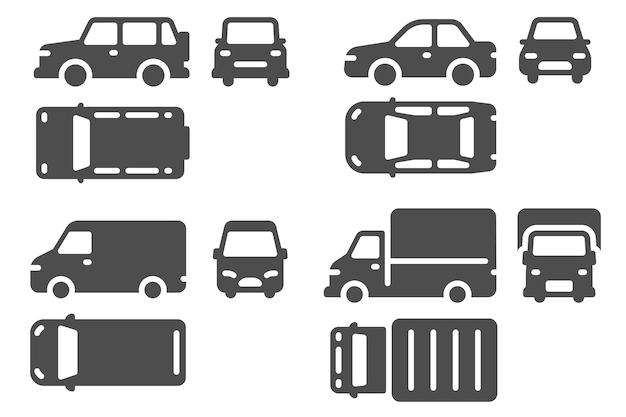 Parte superior do carro e vista frontal. projeção de veículos, suv, microônibus e ícones de automóveis de caminhão para web, conjunto de vetores de transporte de contorno de design de interface do usuário. coleção isolada de sinais de automóveis diferentes