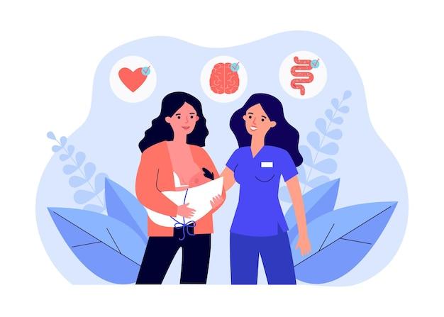 Parteira e jovem mãe amamentando seu bebê. ilustração em vetor plana. recém-nascido testado para funcionamento saudável dos sistemas nervoso, digestivo e cardíaco. triagem, saúde, conceito de parto