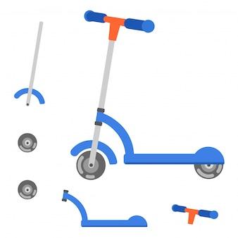 Partes de ilustração vetorial de scooter