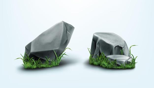 Partes de rochas e pedras com textura rachada na grama