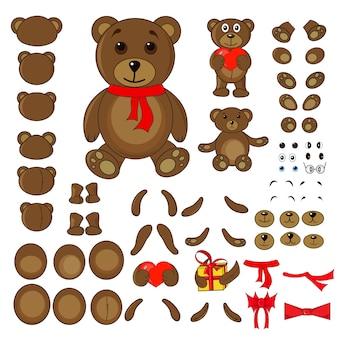 Partes do corpo de um urso no vetor