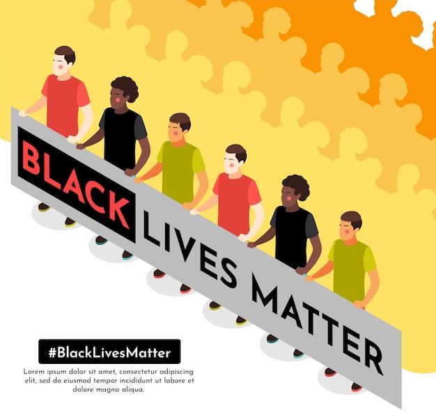 Participantes de manifestações de rua pacíficas do movimento das vidas negras importam a prancha