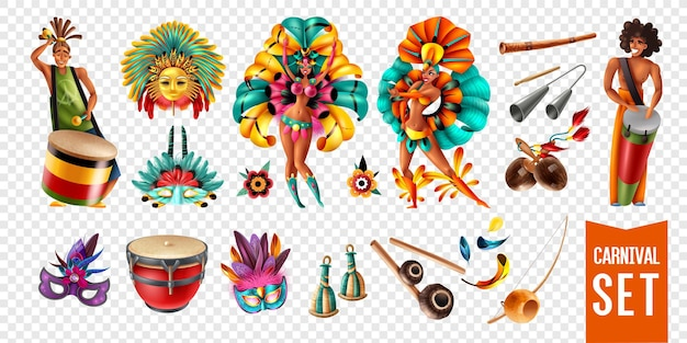 Participantes do carnaval do brasil com instrumentos musicais e ícones de máscaras isolados