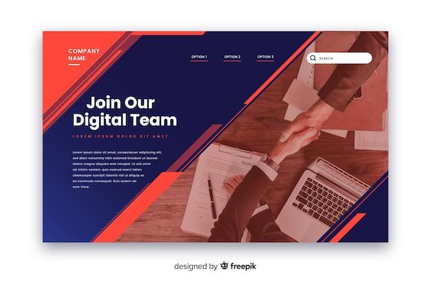 Participe da página inicial da equipe de negócios