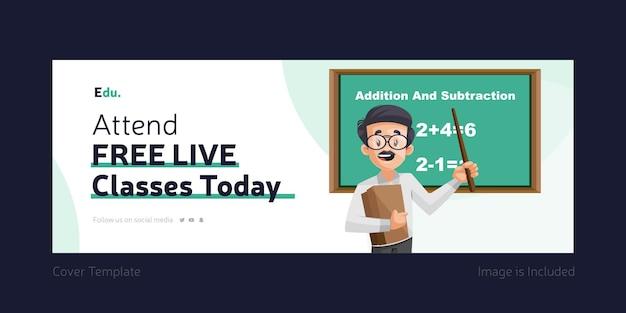 Participe de aulas gratuitas ao vivo hoje, capa do facebook