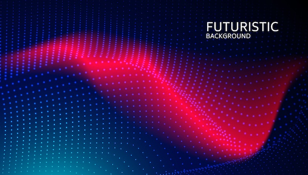 Partícula de onda digital abstrata sobre fundo azul