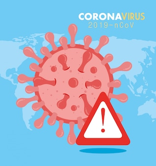 Partícula ncov de coronavírus 2019 com ilustração do sinal de alerta