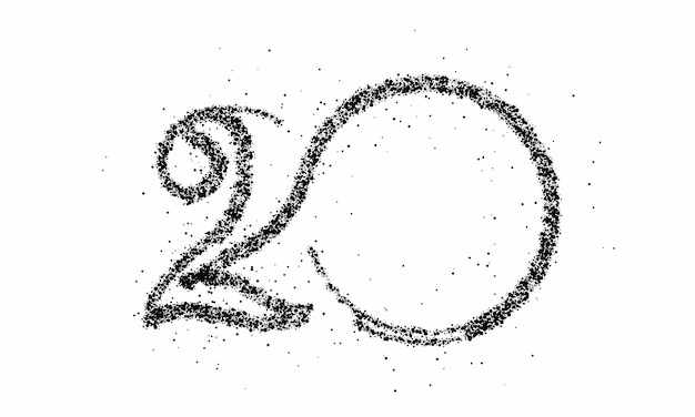 Partícula número 20 no vetor de texto círculo desenho vetorial.