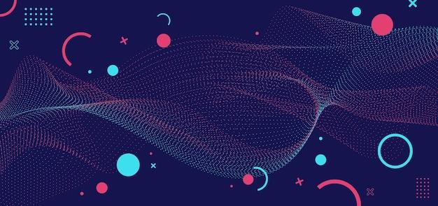 Partículas abstratas azuis e rosa pontilham elementos geométricos de ondas