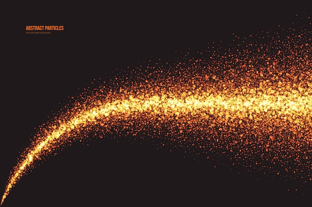 Partículas brilhantes de brilho dourado brilhante em fundo abstrato