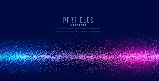 Partículas brilhantes em fundo de tecnologia de luz linear