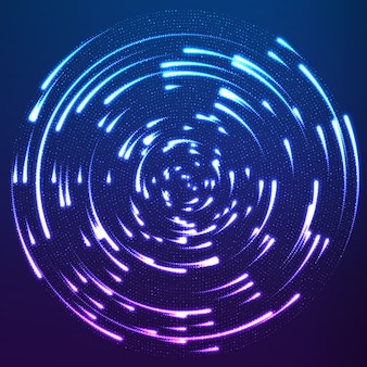 Partículas brilhantes voando ao redor do centro deixando trilhas