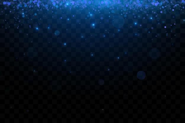 Partículas cintilantes azuis brilhantes decoração de fundo poeira azul efeito de luz