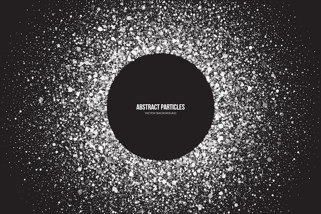 Partículas cintilantes brancas brilhantes e brilhantes, moldura redonda e fundo abstrato