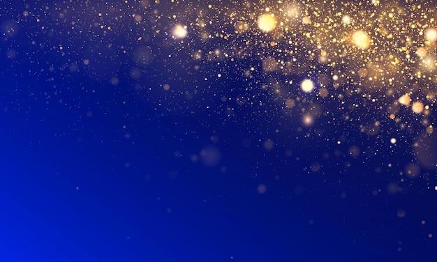 Partículas cintilantes de pó amarelo ouro mágico