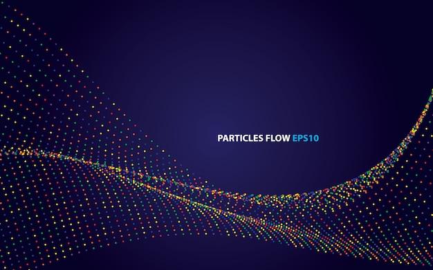 Partículas coloridas abstratas fluem vetor de fundo