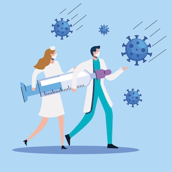 Partículas com casal de médicos e ilustração de seringa