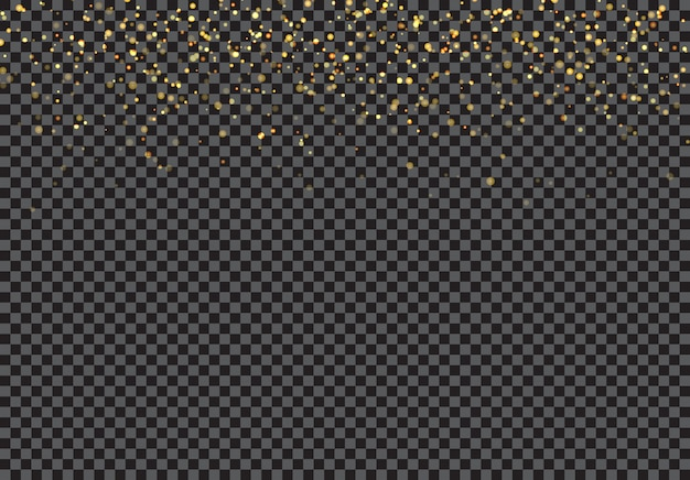 Partículas de brilho caindo ouro efeito fundo transparente