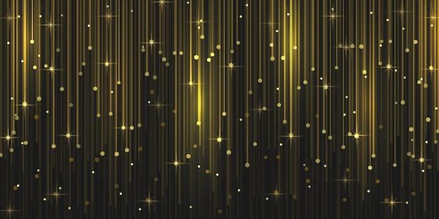 Partículas de brilho de chuva com faíscas de luz mágica caindo.