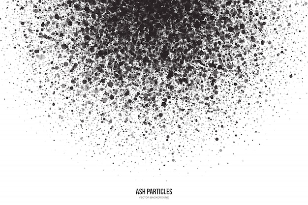 Partículas de cinza cinza escuro sobre fundo branco