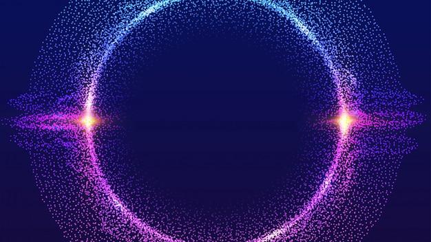 Partículas de círculo brilhante vector fundo.