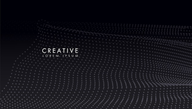 Partículas de círculo de fluxo criativo abstraem fundo de onda, pontos de forma curvilínea suaves