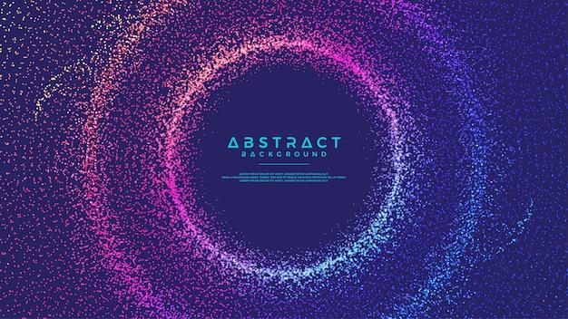 Partículas de fluxo abstrato dinâmico círculo fundo.