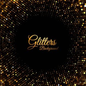 Partículas de glitter dourado abstrato