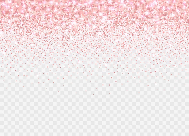 Partículas de glitter ouro rosa isoladas. efeito de brilho rosa pano de fundo para cartões de aniversário, convites de casamento, modelos de dia dos namorados etc. confetes espumantes caindo.