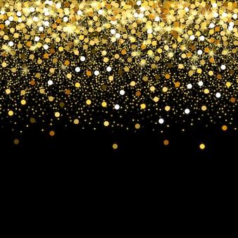 Partículas de ouro caindo preto