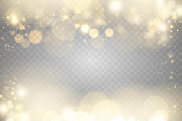 Partículas de poeira dourada cintilantes bokeh natal efeito de luz cintilante amarelo faíscas estrela