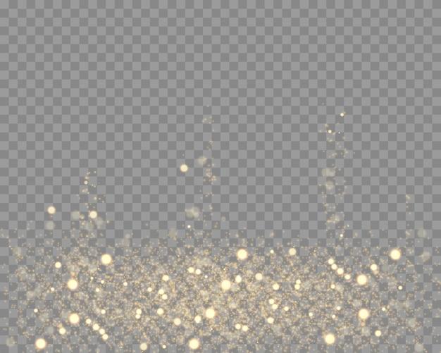 Partículas de poeira dourada de bokeh, glitter.