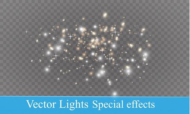Partículas de poeira. estrelas brilhantes. o efeito de iluminação do brilho.