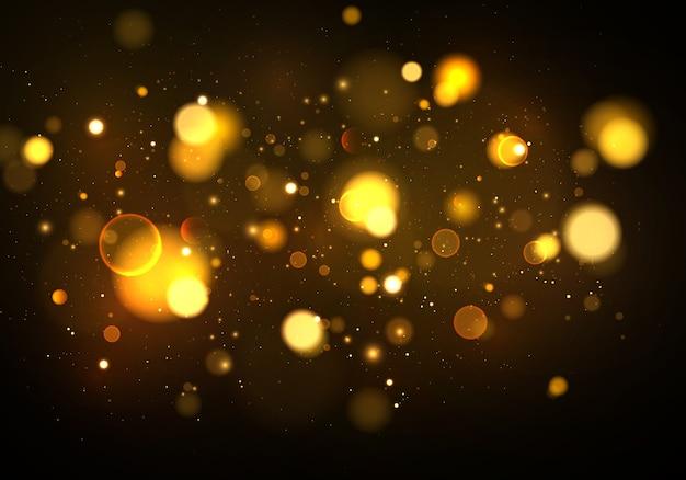 Partículas de poeira mágica cintilante dourada. abstrato com efeito bokeh.