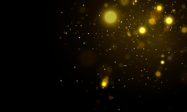 Partículas de poeira mágica cintilantes desfocadas luzes amarelas brilhantes vetor de círculos de bokeh amarelo