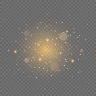 Partículas de poeira mágica cintilantes efeito bokeh poeira amarela
