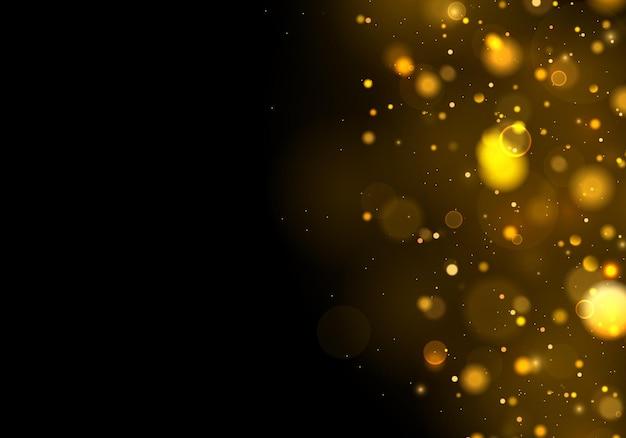 Partículas de poeira mágica cintilantes. efeito bokeh.