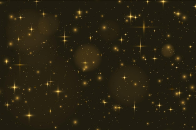 Partículas de poeira mágica cintilantes. efeito de luz dourada brilhante.