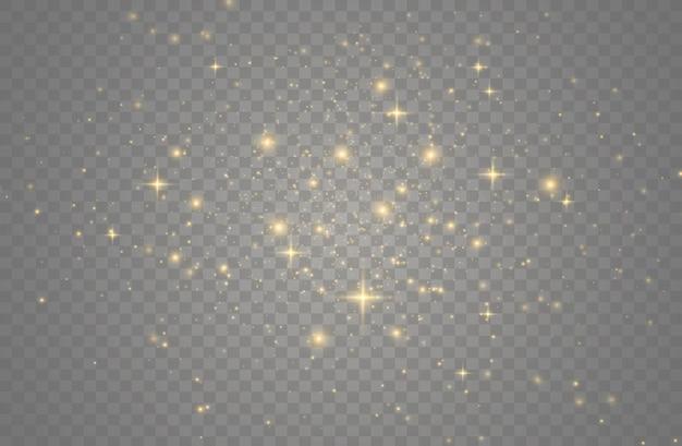 Partículas de poeira mágica cintilantes. efeito de luz, reflexo de lente.