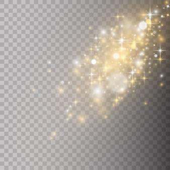 Partículas de poeira mágica cintilantes em fundo transparente