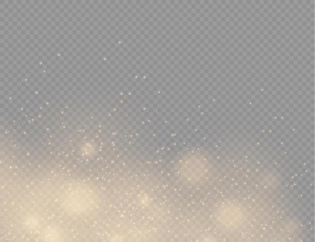 Partículas de poeira mágica dourada cintilantes cintilam luzes de poeira amarela, faíscas e estrelas