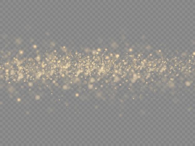 Partículas de poeira mágica dourada cintilantes em fundo transparente, brilho, luzes brilhantes, faíscas de poeira amarela e brilho de estrela com luz especial