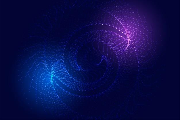 Partículas de tecnologia espiral fundo com luzes brilhantes