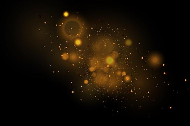 Partículas de vetor dourado.